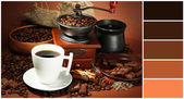 Cup of coffee, grinder, turk and coffee beans on brown background. Color palette with complimentary swatches — Stock Photo