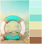 Lifebuoy and sea shells on sand. Color palette with complimentary swatches — Stock Photo