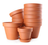 Clay flower pots, isolated on white  — Stock fotografie