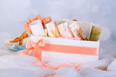Beautiful handmade wedding cards in box, on light background — Stockfoto