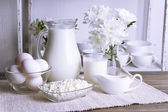 Still life with tasty dairy products on table — Stock Photo