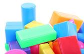 Juguetes de plástico coloridos aislados en blanco — Foto de Stock