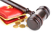 Gavel and money coins isolated on white — Stock Photo