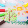 Colorful chalk pastels and simple picture on color paper background — Stock Photo #47398669