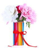 Lindas flores em um vaso de lápis coloridos isolado no branco — Fotografia Stock