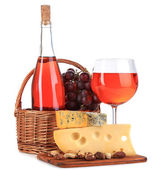 Pink wine, grapes and cheese isolated on white — Stock Photo