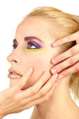 Beautiful woman with bright make-up, close up — Stock Photo