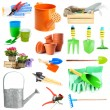 Collage of gardening tools isolated on white — Stock Photo #47538195