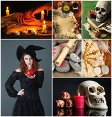 Dark magic and witch collage — Stock Photo