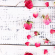 Beautiful pink dried roses on old wooden background — Stock Photo #47543339