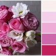 Wedding still life with bouquet . Color palette with complimentary swatches — Stock Photo #47545151