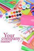 Bright school supplies close-up — Stock Photo