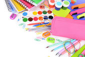 Bright school supplies close-up — Foto Stock