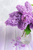 Beautiful lilac flowers in vase on table on light background — Stock Photo