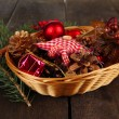 Christmas decorations in basket and spruce branches — Stock Photo #47553797
