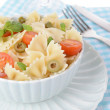 Delicious pasta with tomatoes on plate on table close-up — Stock Photo #47555195