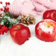 Red apples with fir branches and knitted scarf in snow close up — Stock Photo