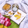 Composition with warm plaid, book, cup of hot drink and female legs, on color carpet background — Stock Photo #47557121