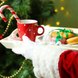 Santa holding mug and plate with cookies in his hand, on bright background — Stock Photo #47559333