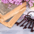 Beautiful composition with old keys and old books on wooden table — Stock Photo #47559377