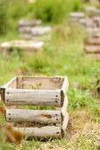 Old wooden crate, outdoors — Stock Photo
