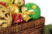 Christmas decorations in basket close up — Stockfoto