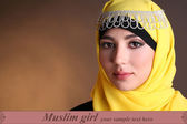 Beautiful muslim arabic woman on dark color background — Foto Stock