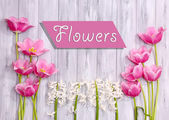 Beautiful flowers on color wooden background — ストック写真