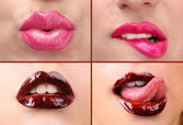 Collage of female lips — Stock Photo