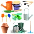 Collage of gardening tools isolated on white — Stock Photo #47660457