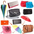 Collage of women's bags and umbrellas isolated on white — Stock Photo #47662653