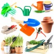 Collage of gardening tools isolated on white — Stock Photo #47662665