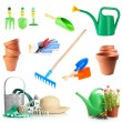 Collage of gardening tools isolated on white — Stock Photo #47662989