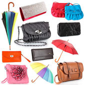 Collage of women's bags and umbrellas isolated on white — Stock Photo