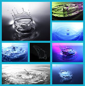 Collage of water drops close-up — Stock Photo