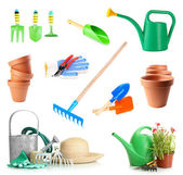 Collage of gardening tools isolated on white — Stock Photo