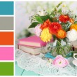 Scenic still life of flowers buttercups. Color palette with complimentary swatches — Stock Photo #47837299