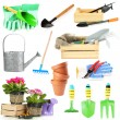 Collage of gardening tools isolated on white — Stock Photo #47837315