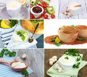 Collage of different sauce — Stock Photo