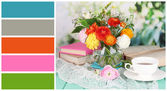Scenic still life of flowers buttercups. Color palette with complimentary swatches — Stock Photo
