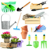 Collage of gardening tools isolated on white — Стоковое фото