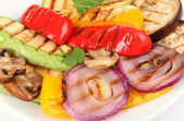 Delicious grilled vegetables on plate close-up — Stock Photo