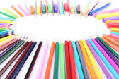 Frame with colorful crayons and  chalk pastels, isolated on white — Stock Photo