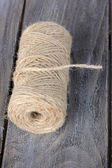 Jute twine on wooden background — Stock Photo
