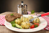 Young boiled potatoes on table, close up — Stock Photo