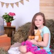 Beautiful small girl in petty skirt holding teddy bear on country style background — Stock Photo #47905489