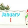 Calendar, New Year decor and fir tree, isolated on white — Stock Photo