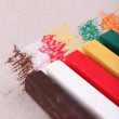 Colorful chalk pastels on color paper background — Stock Photo #47906649