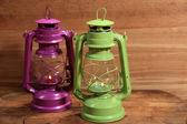 Colorful lantern on wooden background — ストック写真