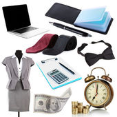 Collage of business stuff isolated on white — Stock Photo